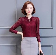 Women's Long Sleeve Fashion Lace Top Chiffon Blouse