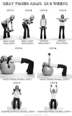 Armas atractivos en 6 WeeksIf usted está empezando a cabo, apuntan a dos series de 8 a 12 repeticiones de mayor peso que puede manejar para cada ejercicio.  Buscando más de un desafío?  Dispara a dos series de 15 a 25 repeticiones por ejercicio.  Músculos IPrimary Paso fila encorvada trabajaron: lats, extensores de la espalda, romboides, hombros, bíceps, traseros centrales.  De pie, con una ligera flexión en las rodillas, sosteniendo las pesas a los lados.  Inclínate, la ampliación de su pecho m