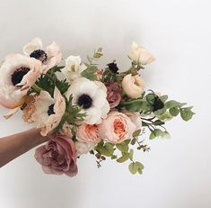 Did you know its anemone season? Theyre the big white poppy-like flowers in thi. Floral Wedding, Wedding Bouquets, Wedding Flowers, Wedding White, Wedding Dresses, Poppy Bouquet, Anemone Flower, Cactus Flower, No Rain