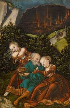 Lot and his daughters, 1528, Lucas Cranach the Elder, Saxony, Germany
