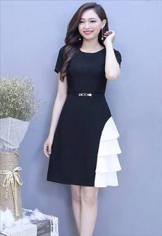 Đầm xòe tay con phối trắng đen ko kèm belt | Đầm xòe đẹp