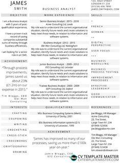 Three-column one-page CV template - CV Template Master