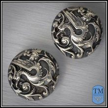 Antique Victorian Sterling Silver Repousse Griffin Cufflinks