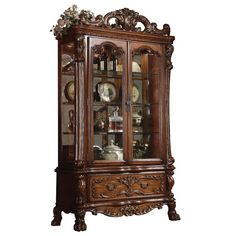 Shop Acme Furniture Dresden Cherry Oak Curio Cabinet with great price, The Classy Home Furniture has the best selection of Curio Cabinets to choose from Furniture Depot, Acme Furniture, Cheap Furniture, Kitchen Furniture, Rustic Furniture, Modern Furniture, Furniture Ideas, Furniture Logo, Furniture Design