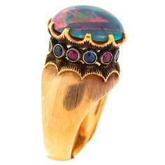 c.1960s Buccellati Opal Ruby Sapphire & Gold Ring