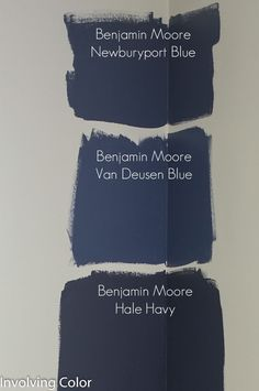 Benjamin Moore navy paint color ideas It was between Newburyport Blue and Van Deusen Blue. decided on Van Deusen Blue. I really wanted a good, dark navy wall, but I didn?t want the room to be too cave like, and the room will have a couple pieces of espr