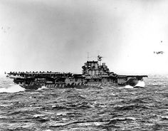 Carrier USS Hornet launching B-25s of the Doolittle raiders, 18 Apr 1942. (US National Archives)