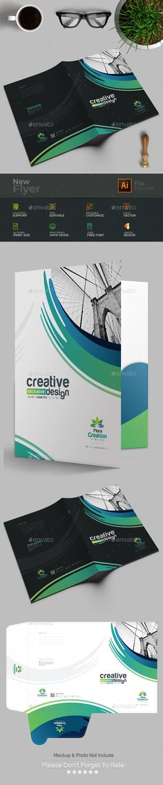 Creative Presentation Folder  Thanks for purchasing!  Fully layered, completely editable and vector, print & web Ready. Text/Font or Co lour can be altered as needed. All Image are in vector format, so can customise easily EPS files : Print Size : 29 in X 23,75 in