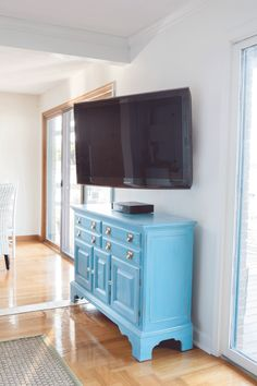How to simply install a swivel TV mount for $50 and then hide TV cords. It is an easy DIY project that can be done in an hour. | In My Own Style