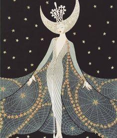Queen of the Night Franklin Mint Royal Doulton House Erte Sevenarts Art Deco Art Deco Illustration, Illustrations, Pinup, Erte Art, Romain De Tirtoff, The Wicked The Divine, Art Deco Posters, Art Deco Design, Wicca