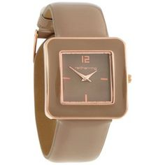 Ladies taupe enamel square case watch