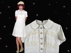 Mod Linen Dress for Spring - Baby Doll Dress - 60s Vintage A Line Dress - Above Knee Dress - Womens Short Linen Dress - Mod A Line Dress by LunaJunctionVintage on Etsy