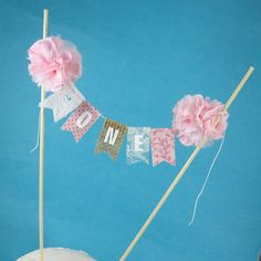 """Shabby chic cake banner, Pink first Birthday cake topper, """"One"""" Cake Bunting E053 - rustic burlap cake topper on Etsy, $25.00"""
