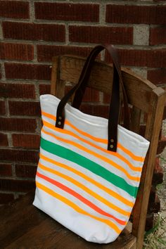 Canvas Tote Bag with Neon Fluorescent Stripes and Leather Handles