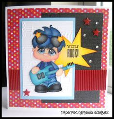 """You Rock"" paper pieced card, created by PAPER PIECING MEMORIES BY BABS, pattern by Treasure Box Designs."