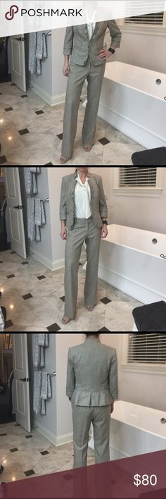 WHBM 2pc suit. Gorgeous 0-2 Handful of wears. Jacket has so much details and looks great with jeans as well. Had to get a 2 for size C bust. the pants as a 0. White House Black Market Jackets & Coats