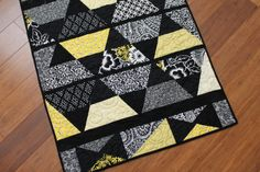 Modern Baby Quilt in Black Yellow and White by CynthiaBDesigns