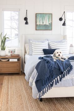 white upholstered bed lake house master bedroom blue and white lakehouse master bedroom coastal bedroom decor cottage bedroom decor at lakehouse blue and white bedroom decor in nautical bedroom design Cottage Bedroom Decor, White Bedroom Decor, Cozy Bedroom, Modern Bedroom, Bedroom Ideas, Bedroom Beach, Contemporary Bedroom, Bedroom Vintage, Bedroom Designs