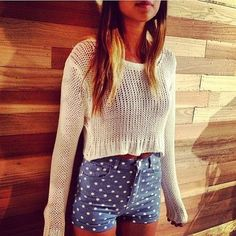 High waisted polka dot shorts and crop sweater