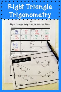 Right triangle trigonometry stations activity with special right triangles for high school geometry.