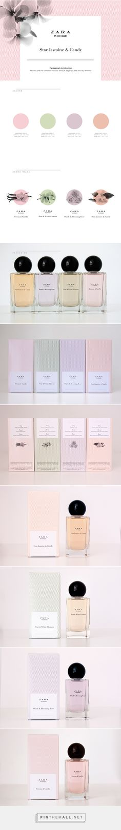 Art direction, branding and packaging for Zara Star Jasmine & Candy on Behance by Isabel de Peque Madrid, Spain curated by Packaging Diva PD. Packaging & Art direction Flowers perfume collection for Zara.