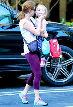 Amy Adams doted on adorable daughter Aviana -- both wore colorful yoga pants.