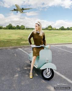 1960s vintage fashion photography, model on a Vespa with an airplane in the background
