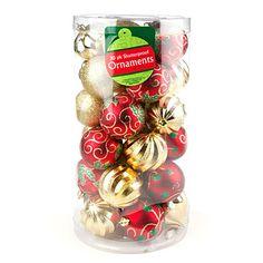 Red & Gold Shatterproof Ornament Cylinder, 30-Pack at Big Lots.