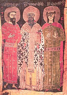 TEXTILES - Embroidered processional banner of 1448, on one side, St. Gregory flanked by King Trdat and St. Hrip'simé, on the other Christ, Etchmiadzin, Treasury. Photo: Dickran Kouymjian