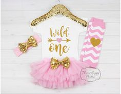 """First Birthday Outfit Girl, 1st birthday outfit, First Birthday Shirt, """"Wild One"""" Birthday, cake smash birthday outfit, birthday outfit B5"""