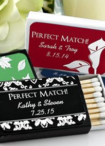"""Strike"" up some sizzling conversations with party revelers! Guests will know without a doubt that you are a ""match"" made in heaven when they see your trendy yet practical choice in favors. Super stylish and personalized in an Exclusive Davids Bridal ink color. These match designs are sure to match your event colors perfectly.    Personalized labels available in your choice of David's Bridal exclusive colors.  Measures 2.25""w x 1.375""h.   Contains 22 - 24 wooden match sticks with white tips…"