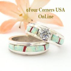 Size 5 White Fire Opal and Coral Engagement Bridal Wedding Ring Set Native American Wilbert Muskett Jr Four Corners USA OnLine Navajo Silver Jewelry Bridesmaid Jewelry Sets, Bridal Jewelry Sets, Wedding Jewelry, Engagement Wedding Ring Sets, Vintage Engagement Rings, Wedding Bands, Vintage Rose Gold, Wedding Rings Simple, Silver Jewelry