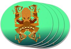 """Amazon.com: Custom & Cool {4"""" Inches} Set Pack Of 4 Round Circle """"Grip Texture"""" Drink Cup Coasters Made of Plastic w/ Cork Bottom w/ Nautical Octopus In The Ocean Design [Colorful Green, Orange & Yellow]: Home & Kitchen"""