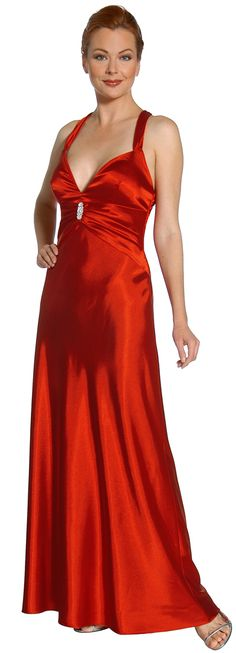 Cheap Red Formal Dress Halter Criss Cross Open Back Party Red Dress $99.99