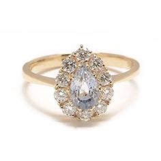 Sapphire Pear and Diamond Cluster Ring