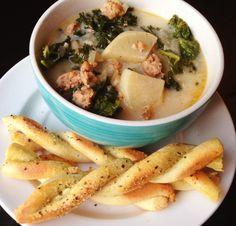 Paleo Zuppa Toscana Soup and Breadsticks*  @Paleo Cupboard & @stiritup.me