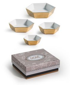 Rosanna Inc - Dore' Nesting Hexagon Bowls - Layer in these ultra-chic serving pieces with other patterns to create a mod-luxe vibe. Like jewelry on your table, nothing accessorizes like gold! Gold Accessories, Office Accessories, Nesting Bowls, Bees Knees, Decorative Objects, White Porcelain, Bowl Set, Make It Yourself, Tableware