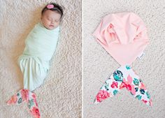 Newborn Mermaid Swaddle Blankets by Whimsy Tails. Adorable!!