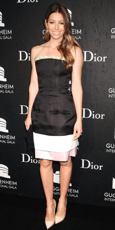 Jessica Biel attended the second evening of the Guggenheim International Gala in a black, off-white and lavender Christian Dior dress with yellow embroidery and pink and yellow pumps.
