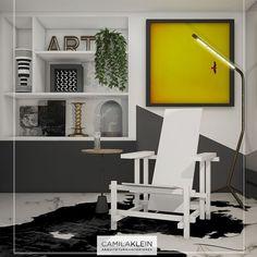 """Peças de design trazem informação cultural ao seu cômodo, de acordo com o estilo, ou a mistura de estilos que você quer propor no seu décor. Neste caso, para o living, colocamos uma releitura """"all-white"""" da cadeira-mãe do De Stijl, desenhada por Gerrit Rietveld, combinada a um tapete de pele sintética e parede com desenhos geométricos  3D por Camilla Iampolsky. #camilakleinarquiteta #neoplasticismo #geometric #living"""