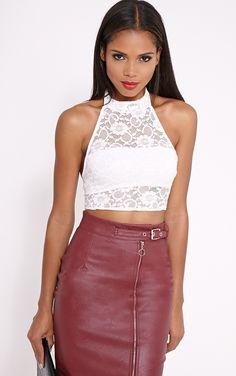 ff10e1c5e3c0d Liana Cream Lace Halterneck Crop Top Image 1 Knitwear