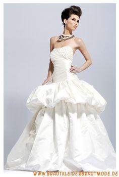 Romantische Brautkleider für Prinzessin aus Taft Ballkleider sexy Korsage