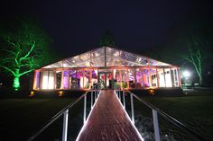 Reception marquee up, red carpet down, lights up all ready for the guests!