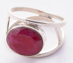925 Sterling Silver Ruby Cut Ring MCR-4054 from Edelsteinschmuck by DaWanda.com