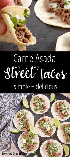 Carne Asada Street Tacos are one of my favorite Mexican food dishes. They're simple and delicious, and can be made quickly with leftover Carne Asada from other meals! They're the perfect leftover dish. Steak marinated in citrus flavor then grilled with the simple addition of cilantro and raw onion? Perfection. #weightwatchers #21dayfix #tacos