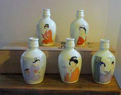 IMAGES OF SAKI JARS | Geisha Jars set of 5 Sake in Bamboo Box Apothecary Jars Flower Vase ...