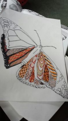 Zendoodle Butterfly.   Marker and Pen on Paper.   Mimi Smith 2014.