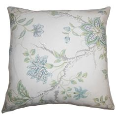 """A homey living space is a perfect place to relax and unwind. This square pillow will transform your living room or bedroom into a cheery space with its fresh floral print. This 18"""" pillow features a blue, green and white color palette which is easy to the eyes. Place this 100% cotton-made decor pillow anywhere inside your home for a chic designer appeal. $55.00   #pillows  #homedecor  #throwpillow"""