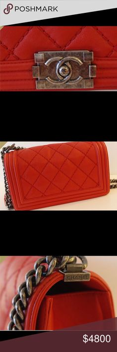 a862b74f4a07 Chanel Le Boy Authentic Poppy Red Caviar leather with ruthenium hardware .  Comes with box and dust bag. Scoop this beautiful bag up at an awesome  price.
