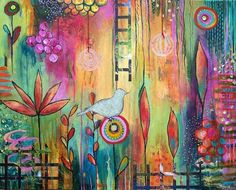 Francine Jolicoeur-Séguin, 'Stairway to Heaven' Art Journal Inspiration, Painting Inspiration, Abstract Watercolor, Abstract Art, Arte Floral, Bloom, Mix Media, Art Journal Pages, Art Plastique
